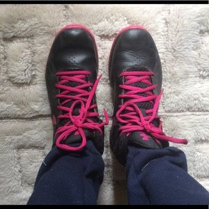 Pink and black youth 4.5 Under Amour high tops